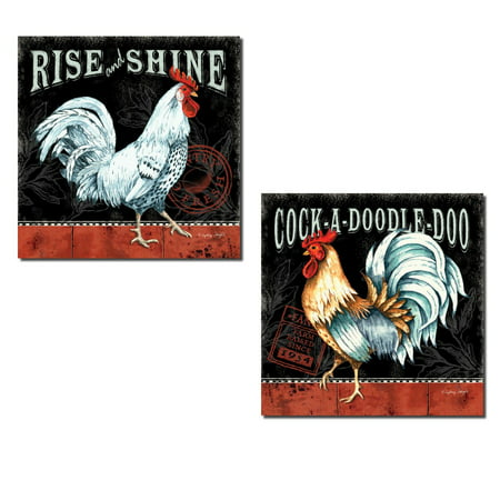 2 Retro Rooster Rustic Art Prints Country Kitchen Decor, 12x12in Poster Prints.