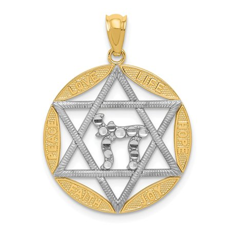 Mia Diamonds 14k Yellow Gold with Rhodium Star of David with Chai Diamond-Cut Circle Pendant