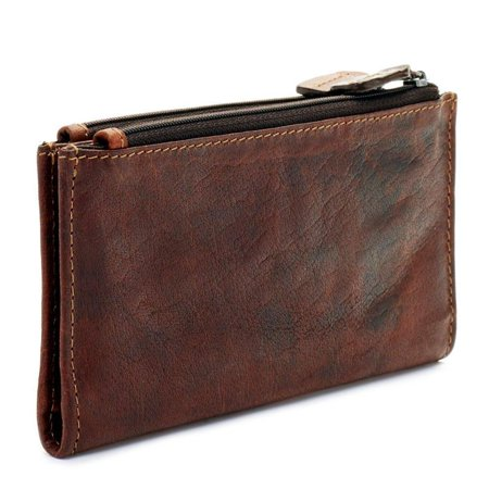 jack georges voyager collection slim double zip womens leather wallet - brown Jack Brown Leather