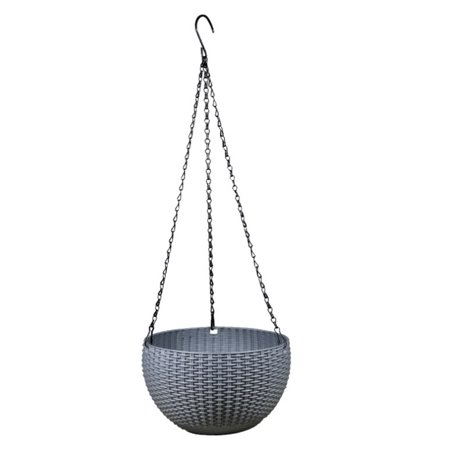 Round Mimetic Rattan-woven Pattern Hanging Plastic Flower Pot Self-watering Scindapsus Plant Holder - Grey