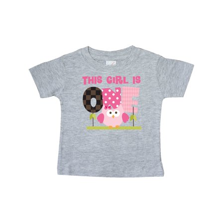 Owl 1st Birthday Cute 1 Year Old Girl Baby T-Shirt ()