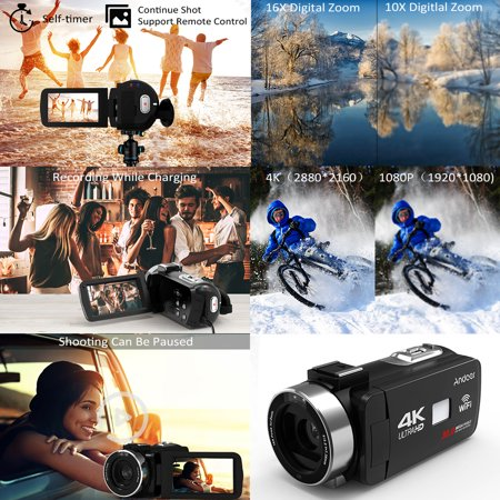 """Andoer 4K Ultra HD WiFi Digital Video Camera Camcorder DV Recorder 16X Zoom 3.0"""" LCD Touchscreen IR Night Vision with Hot Shoe Mount + 0.39X Wide Angle Lens - image 6 of 7"""