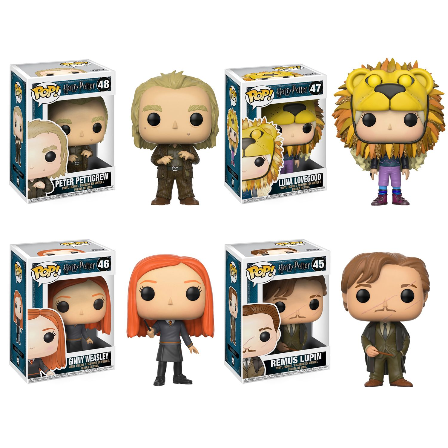 Funko POP! Movies Harry Potter Series 4 Collectors Set; Peter Pettigrew, Luna Lovegood(Lion Head), Ginny Weasley, Remus Lupin