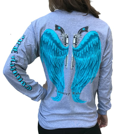 Country Life Guns and Angel Wings Gray and Blue Long Sleeve Shirt (Angels Top)