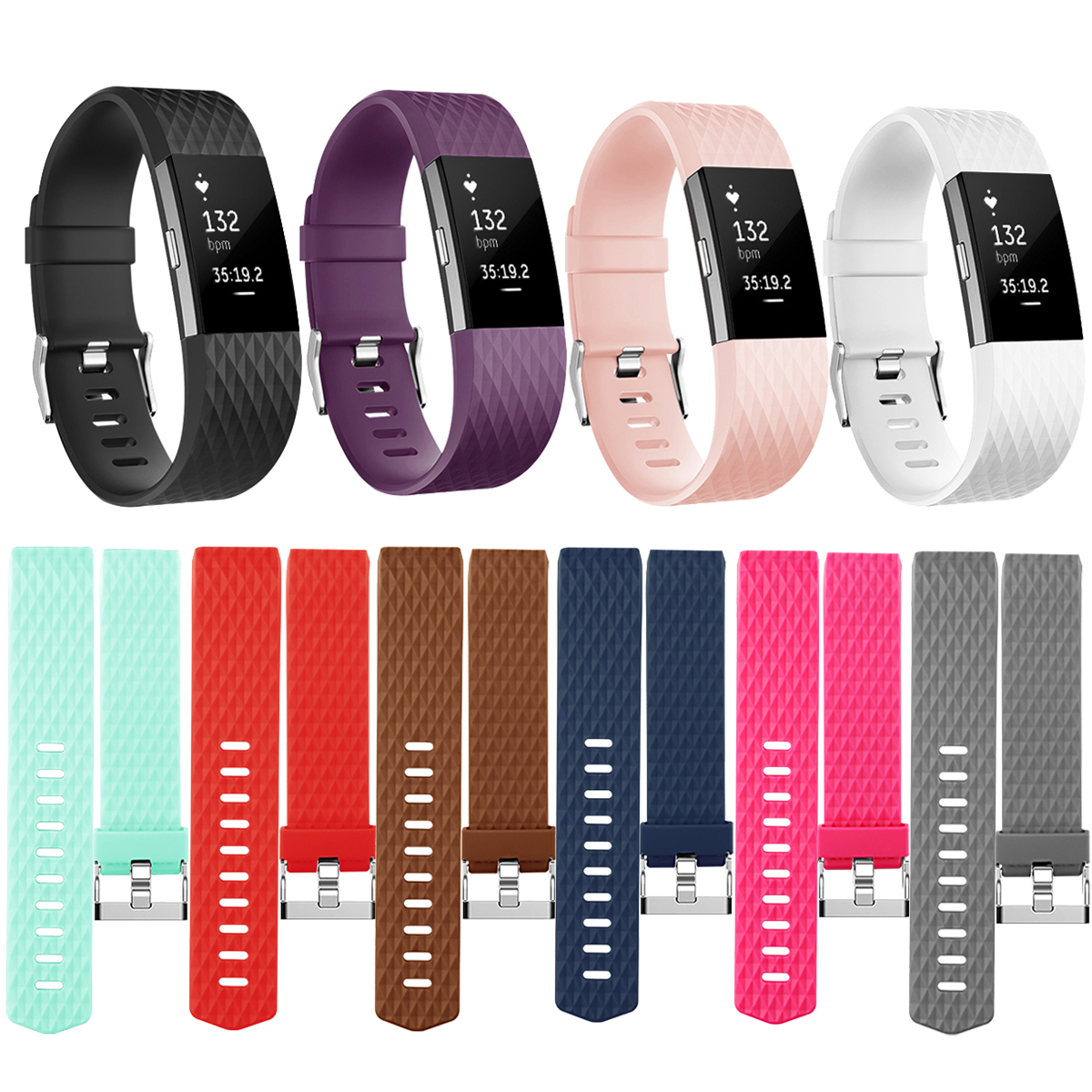 Rose /& Plum /& Teal, Large Amzpas Bands Compatible with Fitbit Charge 2 Bands Small Large Adjustable Replacement Accessories Wristbands for Women Men