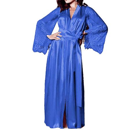Satin Long Robe (Women's Satin Silk Bathrobe Oblique Long Kimono V-Neck Robe Bridesmaids Robe )