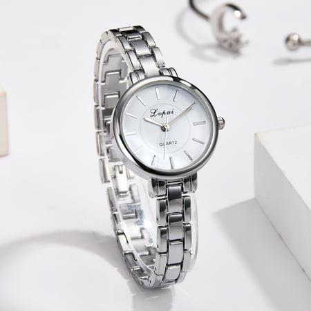 outdoorline Women Alloy Quartz Watch Girls Narrow Strap Clear Scale Round Pointers Dial Wristwatch Gift - image 3 de 5