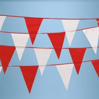 Red & White Pennant String Flags