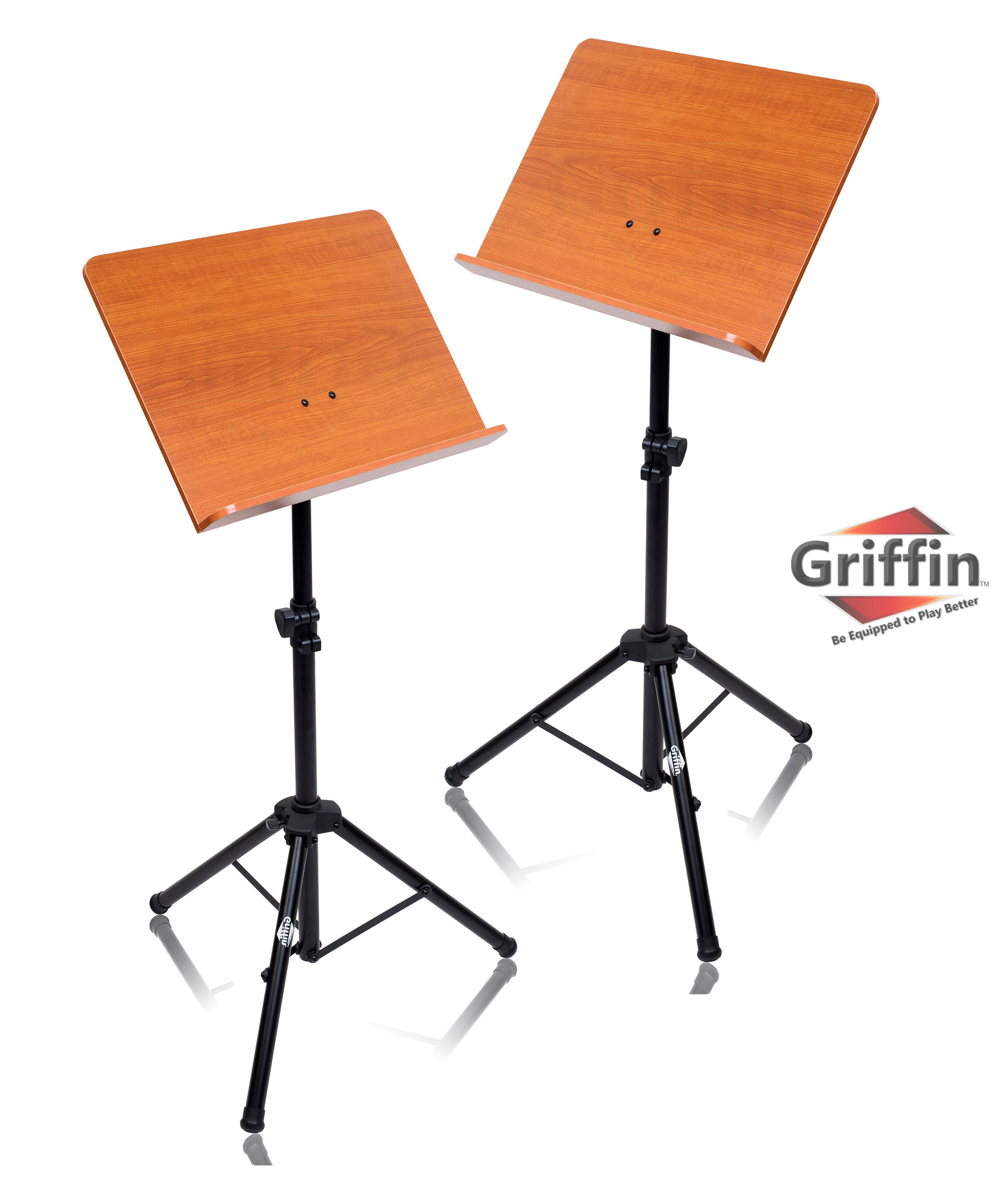 Wood Music Stand (2 Pack) by Griffin | Wooden Bookplate Deluxe CONDUCTOR SHeet Holder with... by Griffin