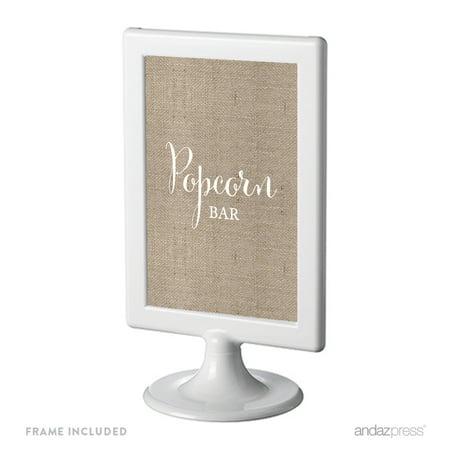 Popcorn Bar Framed Burlap Wedding Party Signs (Wedding Bar Signs)