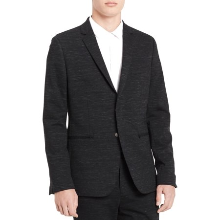 Calvin Klein Black Blazer - Calvin Klein Mens Large Space Dye Two Button Blazer