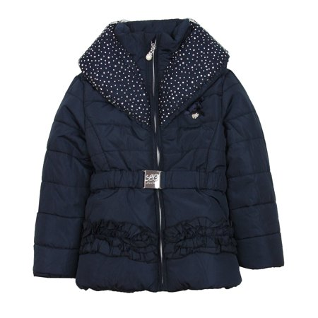 Le Chic Girl's Puffer Jacket with Shawl Collar Navy, Sizes 3-14 - 5/110 - image 2 of 2