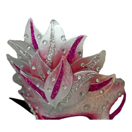 Pink White Venetian Mask Masquerade Mardi Gras Party Leaf Cascade - Masquerade Sweet 16 Party Ideas