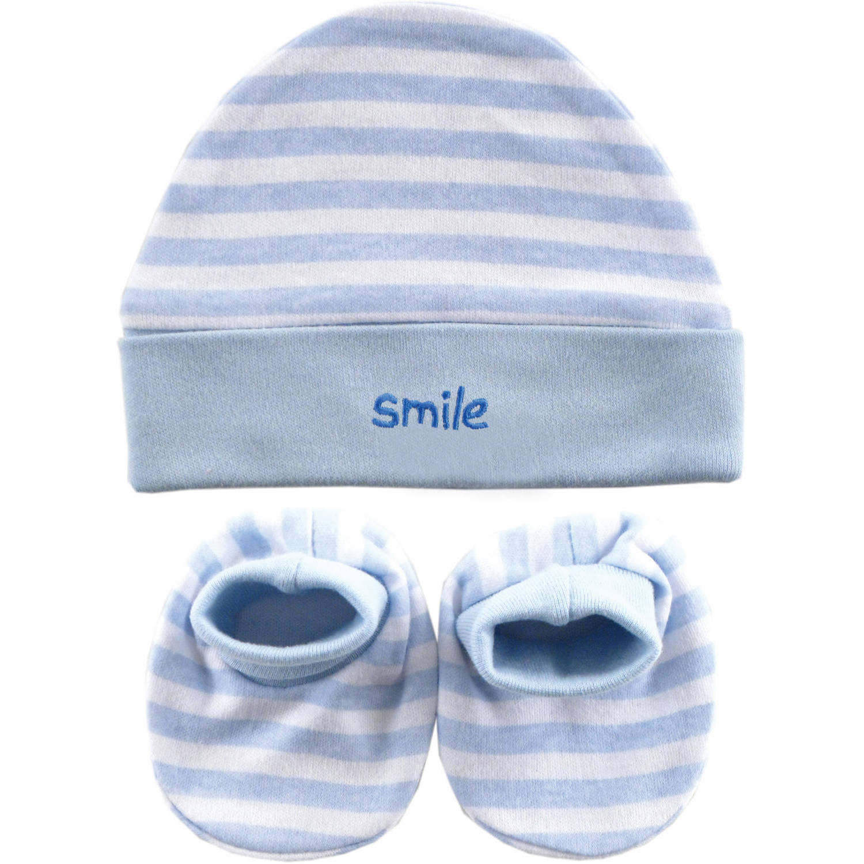 Luvable Friends Newborn Baby Boys Cap & Booties Set, 0-6 months