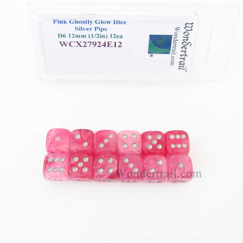Pink Ghostly Glow Dice with Silver Pips 12mm (1/2in) D6 Set of 12 Wondertrail