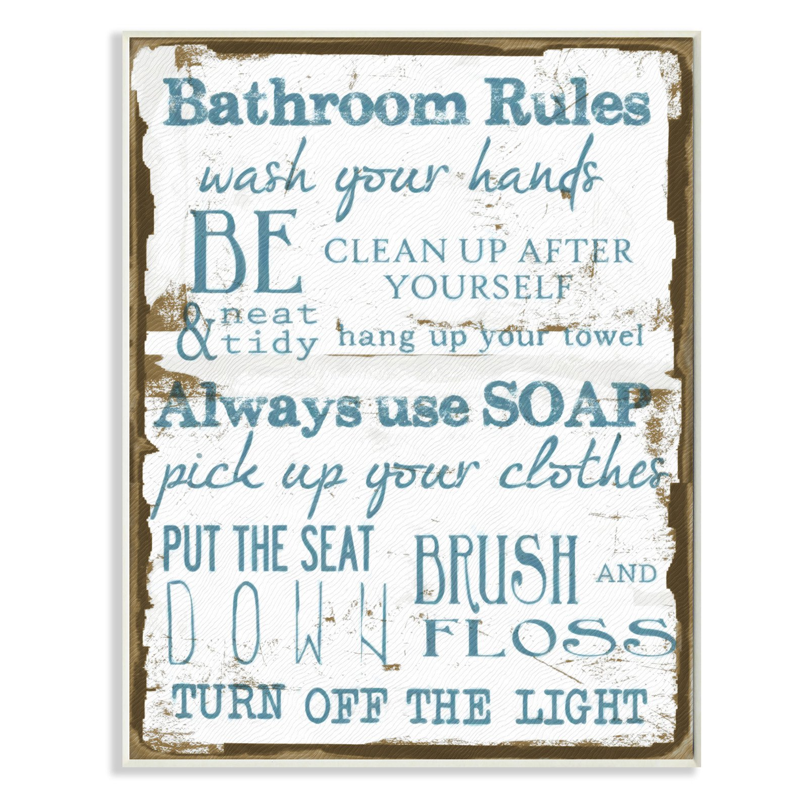 Brown And Blue Classic Bathroom Rules Wall Plaque Art