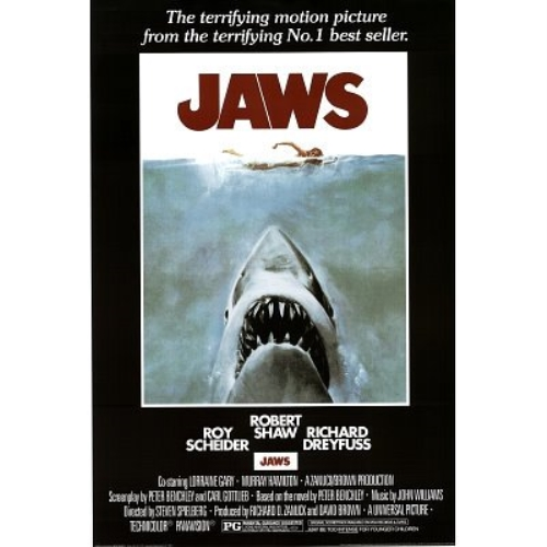 Jaws Steven Speilberg Movie 36x24 Classic Movie Art Print Poster Killer Shark by Scorpio Posters