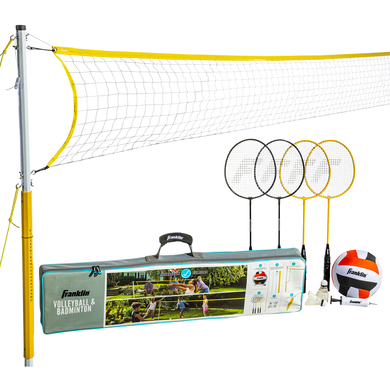 Franklin Sports Volleyball And Badminton Family Set Volleyball Pump Badminton Rackets Birdies Net And Adjustable Polls Beach Or Backyard Setup Walmart Com Walmart Com