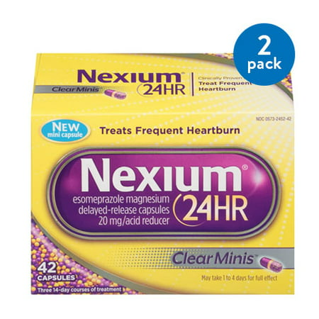 (2 Pack) Nexium 24HR ClearMinis (20mg, 42 Count) Delayed Release Heartburn Relief Capsules, Esomeprazole Magnesium Acid