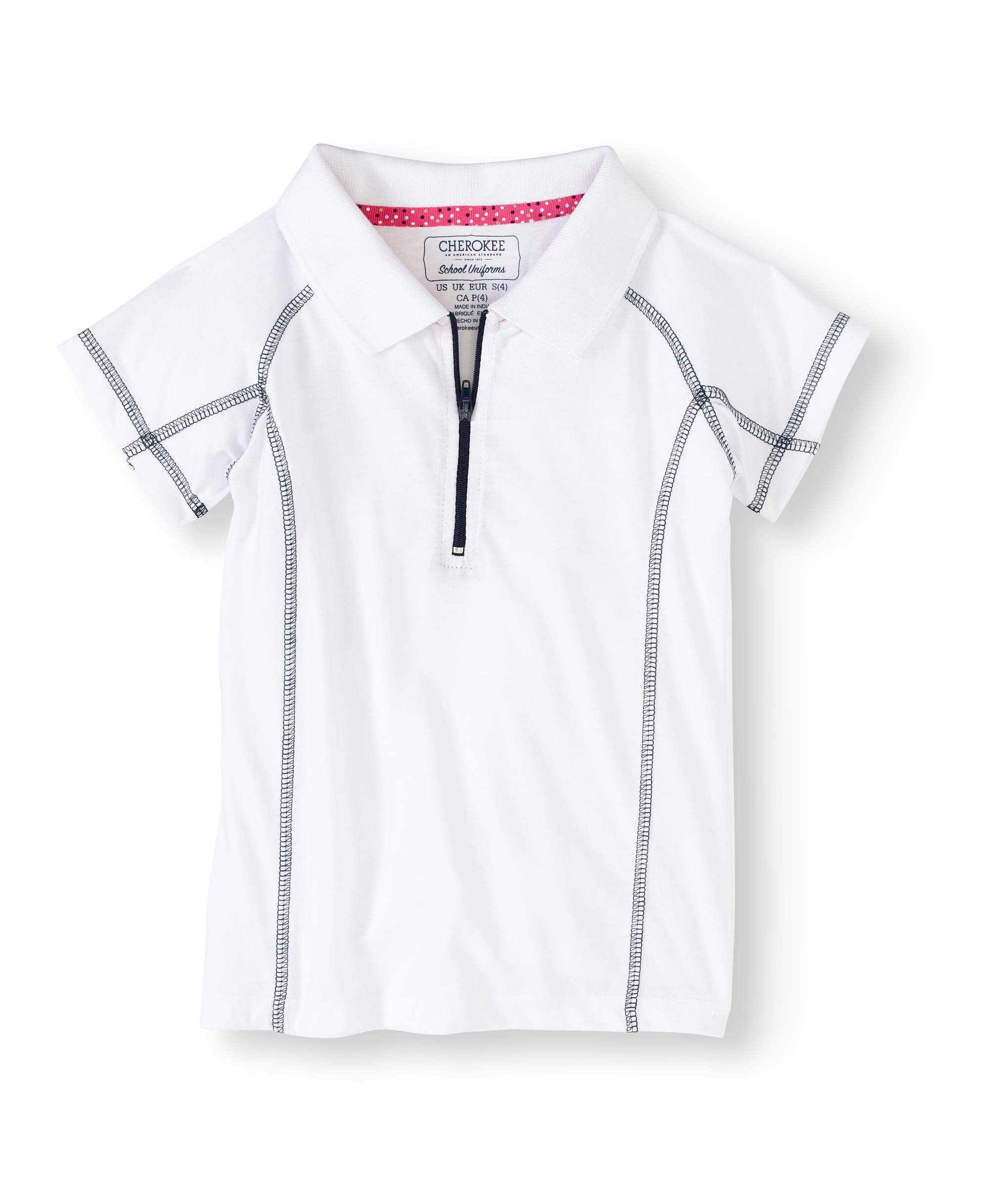 Girls' Zip Plaquet Performance Polo