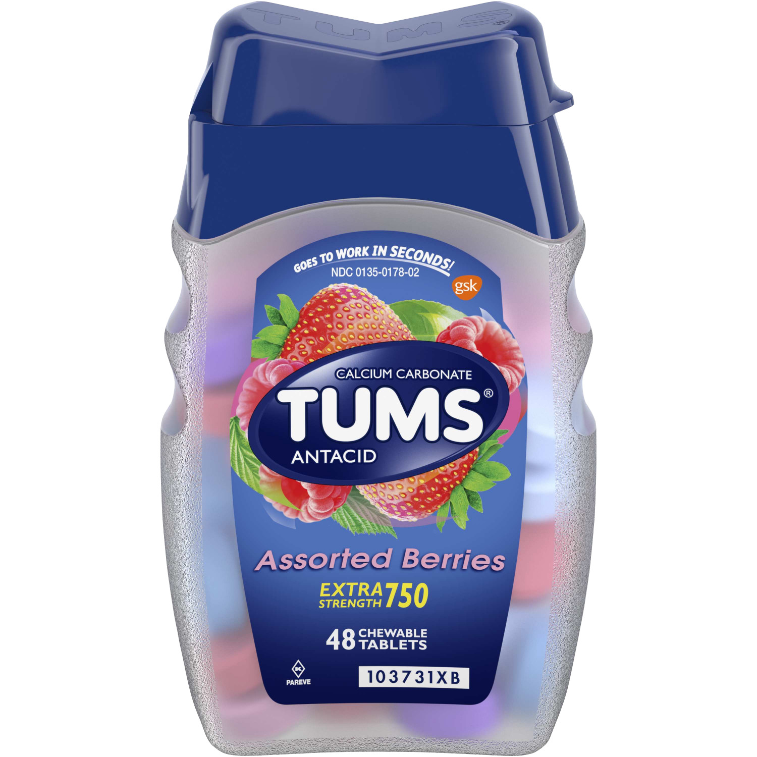 TUMS Antacid Chewable Tablets, Extra Strength for Heartburn Relief, Assorted Berries, 48 count