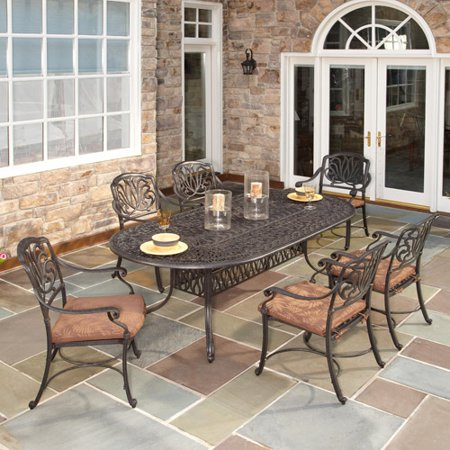 Home Styles Floral Blossom 7-Piece Patio Dining Set, Charcoal ...