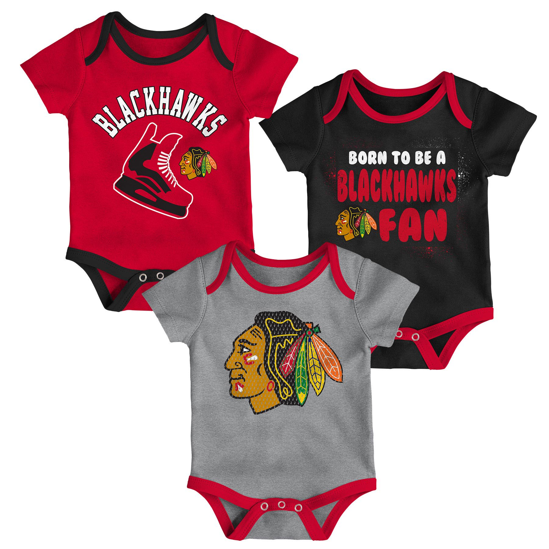 the latest 1341d 1e44d Chicago Blackhawks NHL Baby Even Strength 3-pc Creeper Set ...