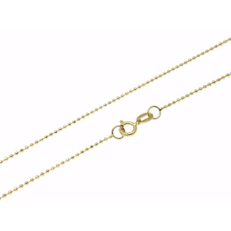 14k solid yellow gold diamond cut 1mm bead ball chain necklace 20