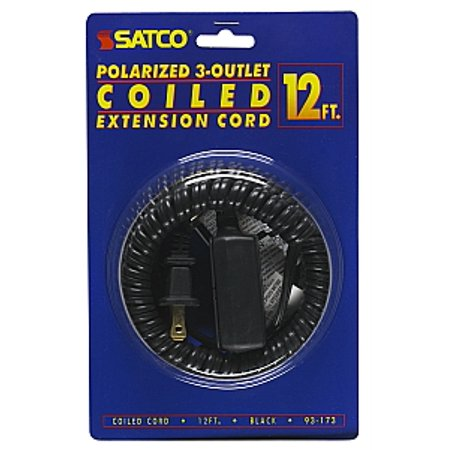 13a Indoor Extension Cord - Satco 12 FT Coiled Extension Cord 13A 125V 1625W Max Black