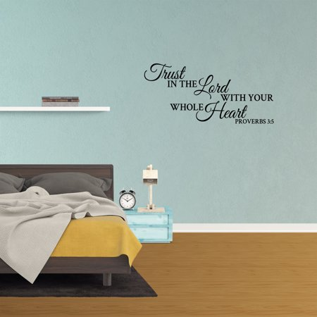 Wall Decal Quote Trust In The Lord With Your Whole Heart Proverbs 3:5 Scripture Christian Decor Vinyl Sticker Lettering Design XJ337](Scripture Stickers)