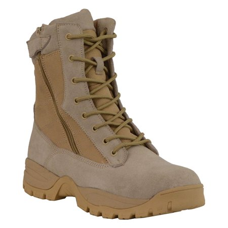 Milwaukee Leather Mens 9in Desert Sand Leather Tactical Boots with Side - Ugg With Zipper