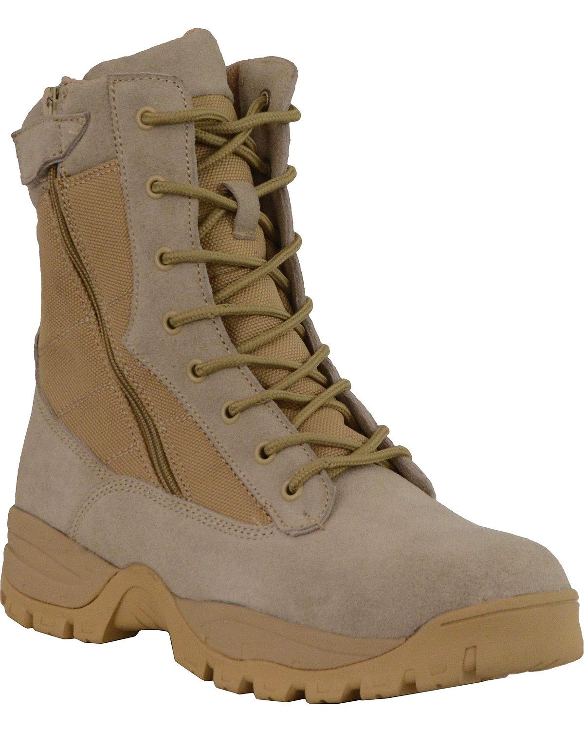 Milwaukee Leather Mens 9in Desert Sand Leather Tactical Boots with Side Zippers