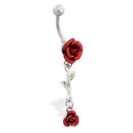 Rose Belly Button Ring With Dangling Rose Vine