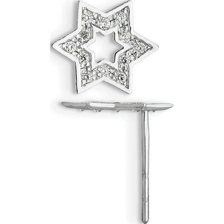 14k Yellow Gold Madi K White CZ Star of David (8x10mm) Earrings - image 3 de 3