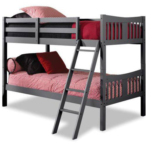 Storkcraft Caribou Twin Over Twin Solid Hardwood Bunk Bed, Gray