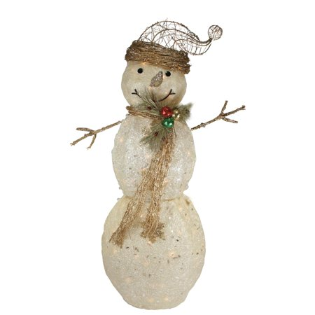 43 lighted tinsel and sisal snowman christmas outdoor decoration