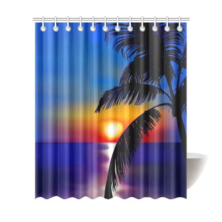 MKHERT Palm Tree Shower Curtain Waterproof Bath Decor 66x72 Inch
