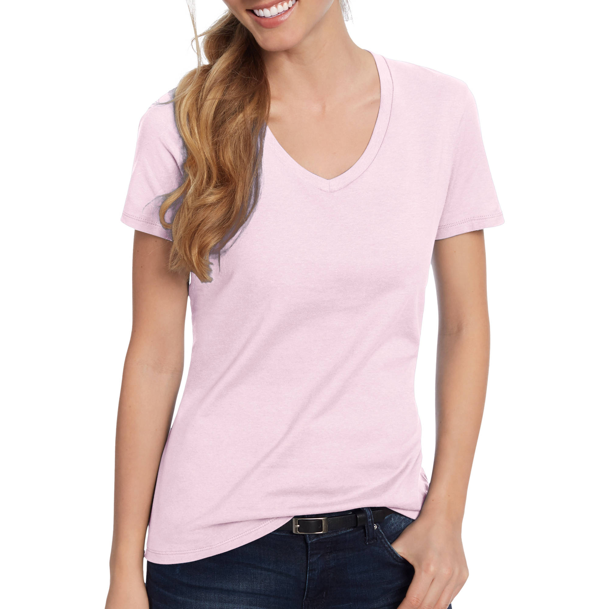 Hanes Women's Lightweight Short Sleeve V-neck T-Shirt