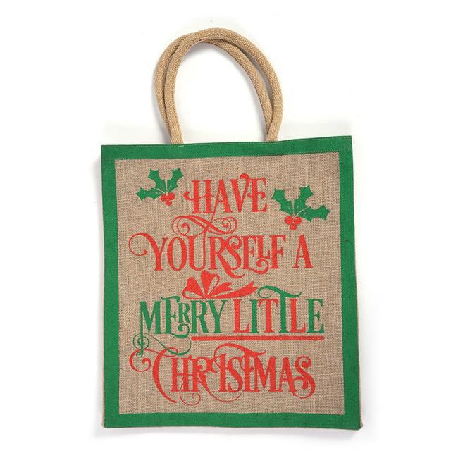 DDI 2319888 Merry Little Christmas Burlap Jumbo Bag with Chunky Handles - Case of 24