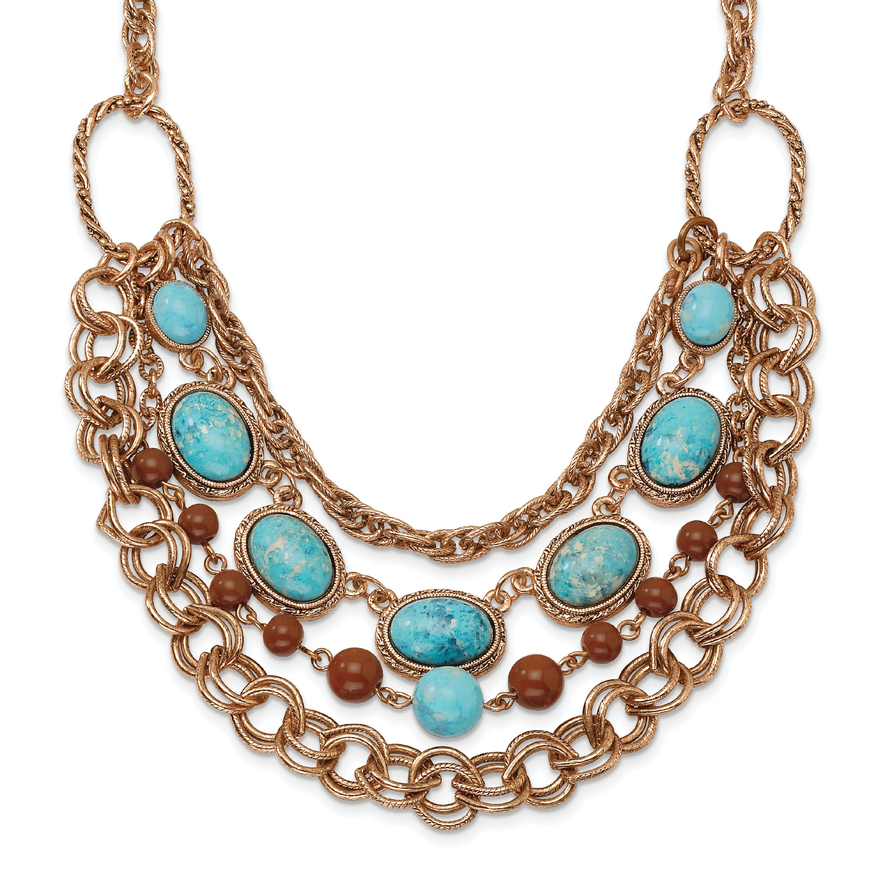 Roy Rose Jewelry 1928 Collection Copper-tone Aqua & Brown Beads Multistrand 16'' inch w/extension Necklace