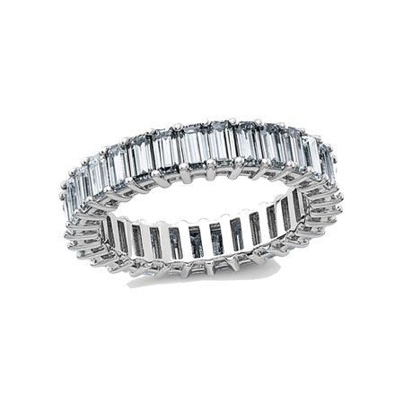 3.40 Carat (ctw) (3.70 Ct. Look) Synthetic Moissanite Eternity Wedding Band Ring in 14K White Gold - image 6 of 6