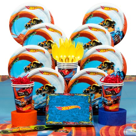 Hot Wheels Wild Racer Birthday Party Deluxe Tableware Kit (Serves 8) - Party Supplies (Adult Birthday Party Supplies)