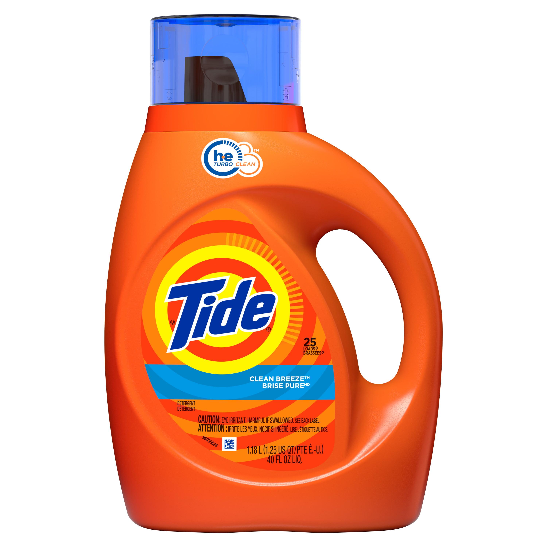 Tide High Efficiency Liquid Laundry Detergent, Clean Breeze, 25 load 40 fl oz