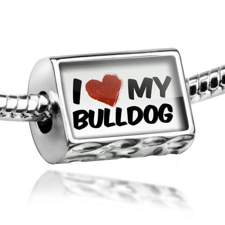 3d Bulldog Charm (Bead I Love my BullDog from England Charm Fits All European)