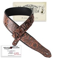 Walker & Williams G-971 Chestnut Brown Western Embossed Strap with Soft Padded Back