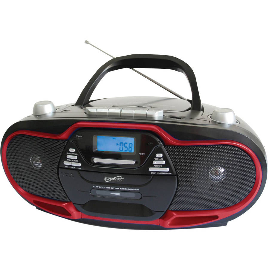 Supersonic Portable MP3 CD Player with USB AUX Inputs, Cassette Recorder & AM FM Radio- Red by Supersonic