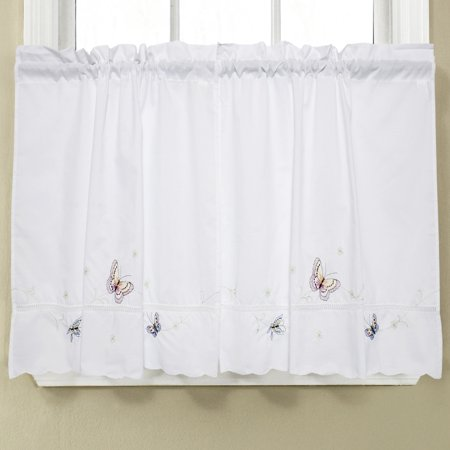 Monarch Embroidered Butterfly White Kitchen Curtains 24 x 58 Tier Pair