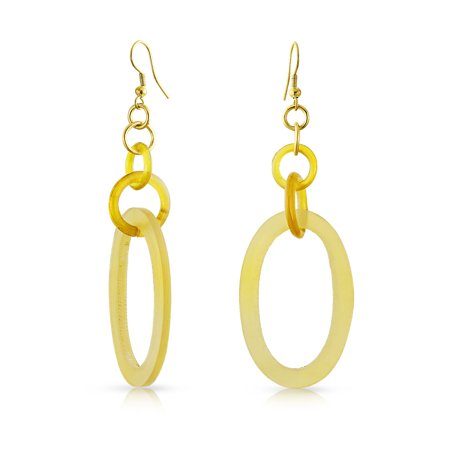 Tribal Geometric Hand Made Natural Oval Beige Organic Boho Fashion Buffalo Horn Dangle Earrings For Women For (Organic Horn Earrings)