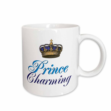 3dRose Prince Charming royal blue cursive script text with gold crown potential part of funny couple gift, Ceramic Mug, 15-ounce ()