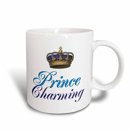 3dRose Prince Charming royal blue cursive script text with gold crown potential part of funny couple gift, Ceramic Mug, 15-ounce